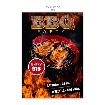 Bbq poster a4 template