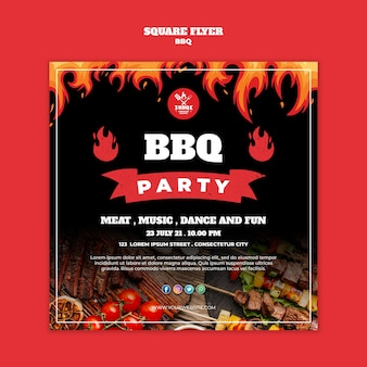 Bbq square flyer concept template