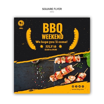 Bbq square flyer template