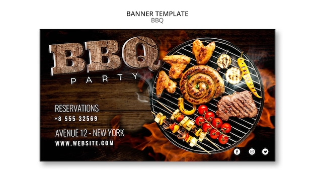 Bbq template party banner