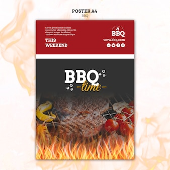 Bbq time and grill poster template