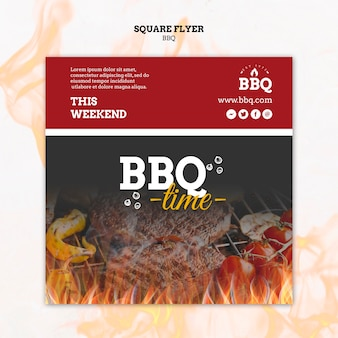 Bbq time and grill square flyer template