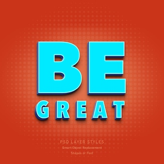 Be great 3d text style effect