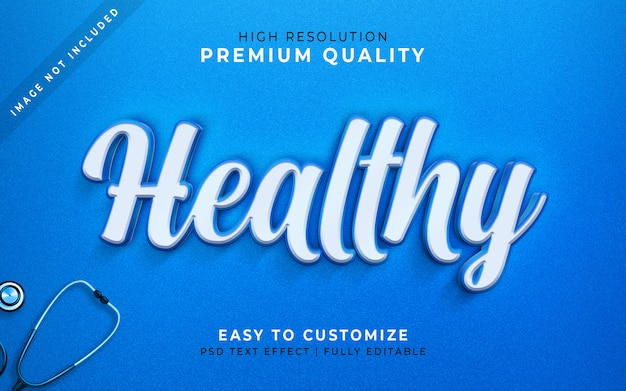 Be healthy 3d text style effect blue mockup