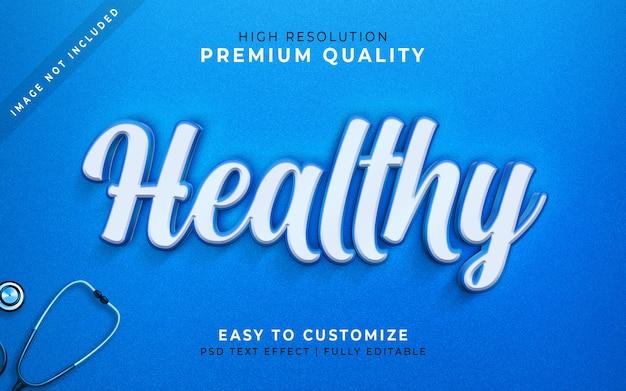 Будь здоровым, 3d стиль текста эффект синий макет