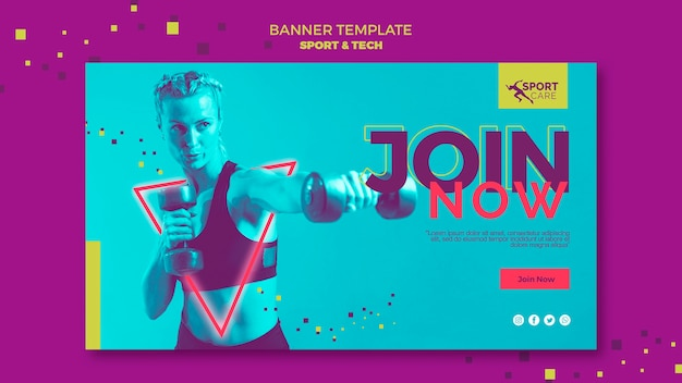 Be healthy fit banner template