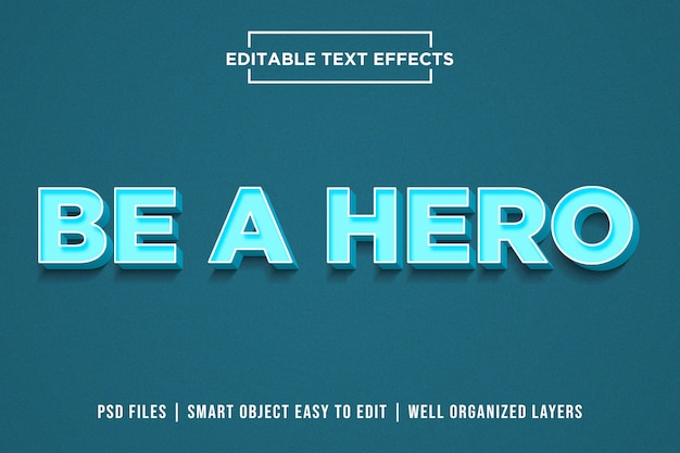 Be a hero - modern blue text style effects