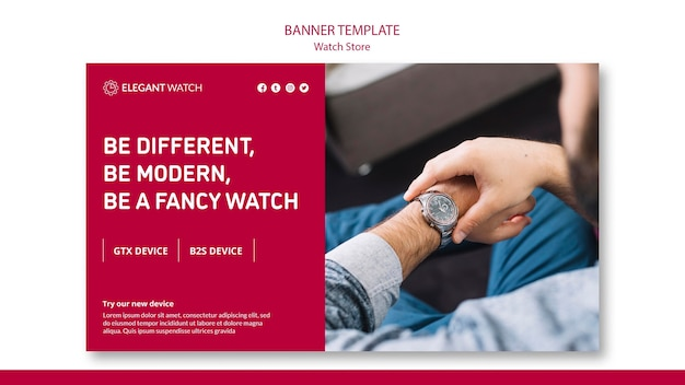 Be modern, be a fancy watch banner template