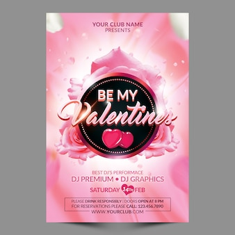Be my valentines flyer template