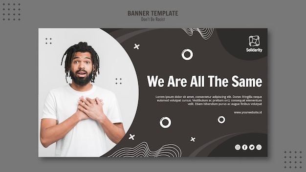 Don't be racist concept banner template
