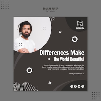 Don't be racist concept square flyer template