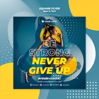 Be strong girl square flyer template