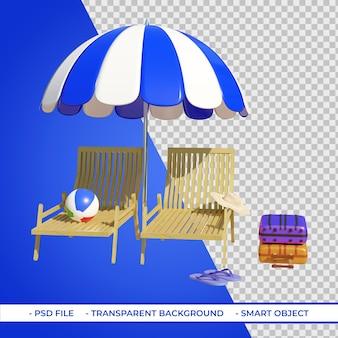 Шезлонги и зонтики с чемоданами для пляжных мячей 3d-рендеринг Premium Psd