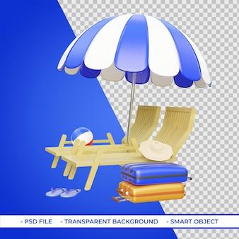 Шезлонги и зонтики с чемоданами для пляжных мячей 3d-рендеринг