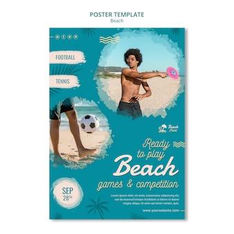 Modello del manifesto della competizione in spiaggia