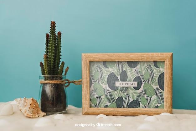Beach concept with frame