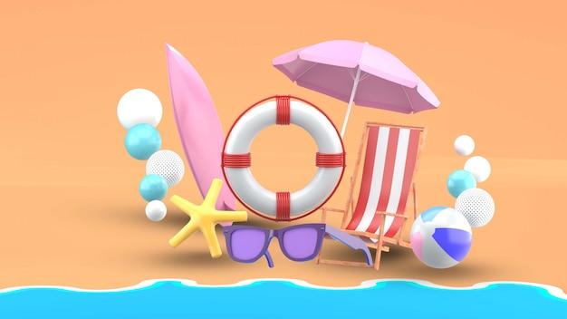 Пляжная стихия в окружении разноцветных шариков на пляже