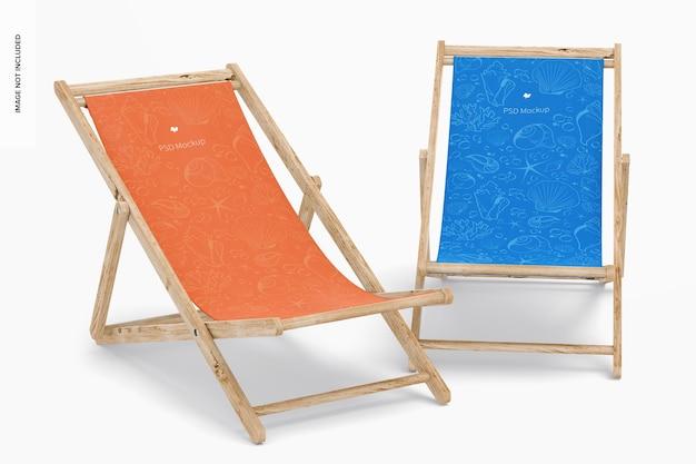 Мокап пляжных складных стульев, вид справа и спереди