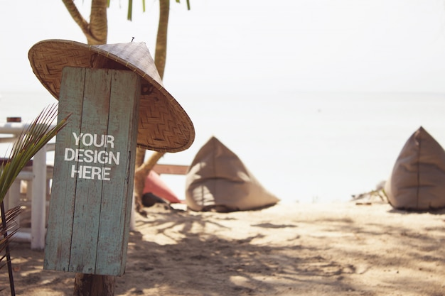 Beach paradise signboard mockup