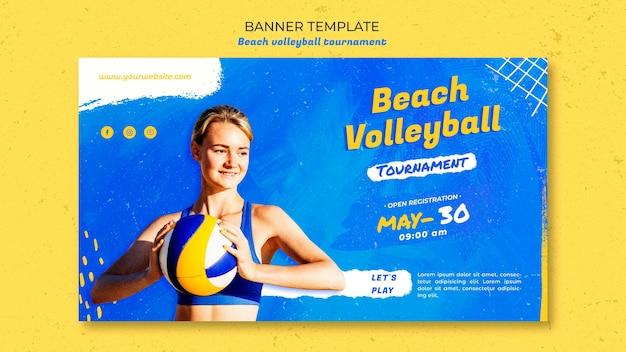 Beach volleyball concept banner template