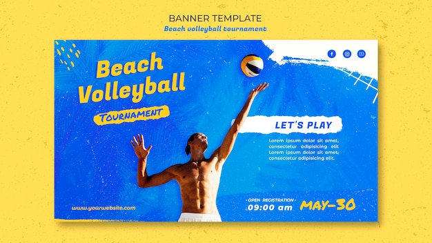 Beach volleyball concept banner template