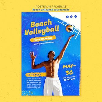 Beach volleyball concept flyer template