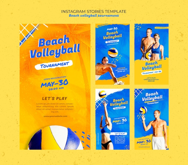 Beach volleyball concept instagram stories template