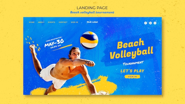 Beach volleyball concept landing page template