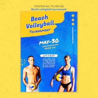 Beach volleyball concept poster template