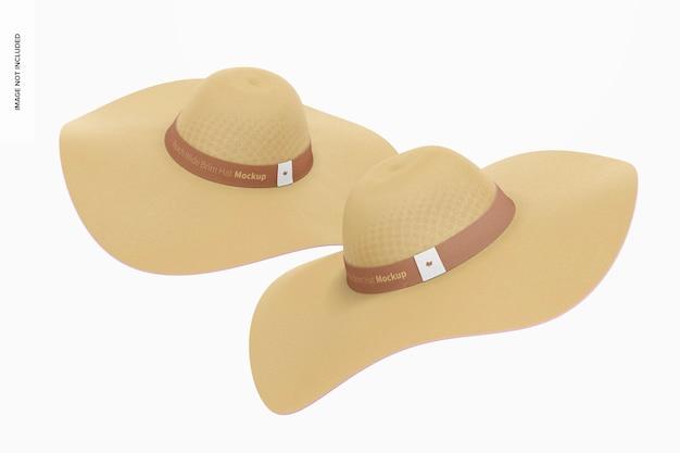 Beach wide brim hats mockup, floating