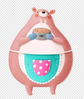 Медведь в фартуке с тортом