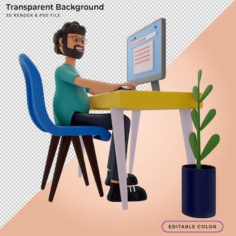 Bearded guy sitting in front of laptop, man work on computer. freelancer, 3d render, 3d illustration