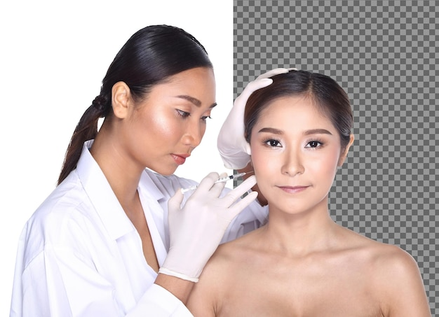 Beautician doctor diagnose face shape skin care rhinoplastry nose on patient, isolated. v shape lifting face on 20s beautiful woman to inject botox filler glow skin. studio white background half body
