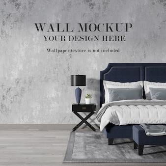 美しいアールデコ様式の寝室の壁のモックアップ