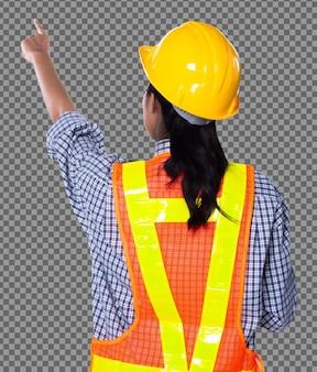 노란색 하드 모자를 쓴 아름다운 아시아 건축가 엔지니어 여성, 주황색 태블릿 케이스가 있는 안전 광활한 반사경, 스튜디오 흰색 배경 격리, 콜라주 그룹 팩 후면 후면 초상화
