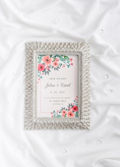 Beautiful assortment of wedding elements with frame mock-up