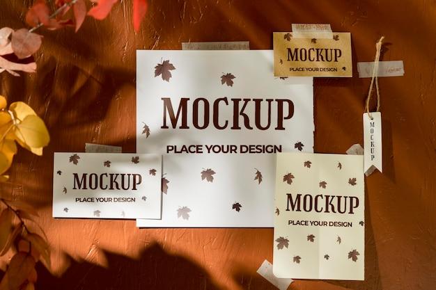 Beautiful autumn moodboard mock-up