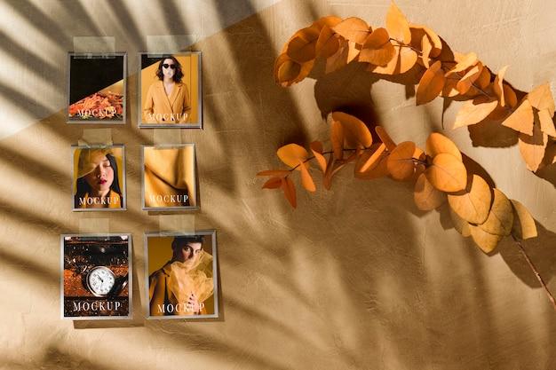 美しい秋のムードボードのモックアップ