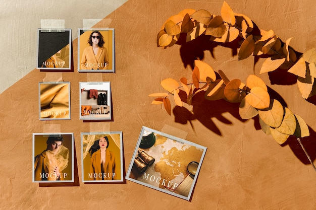 Beautiful autumn moodboard mock-up