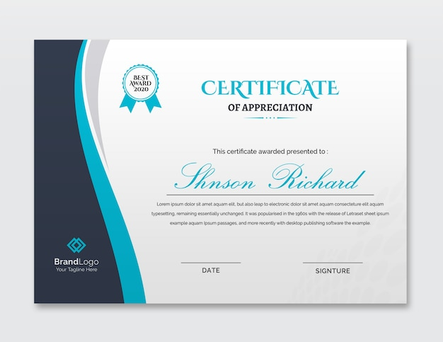 Beautiful business certificate template
