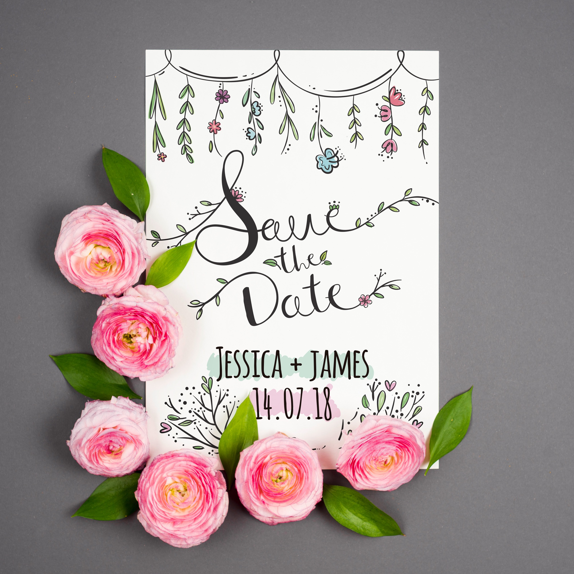 Beautiful card mockup with roses