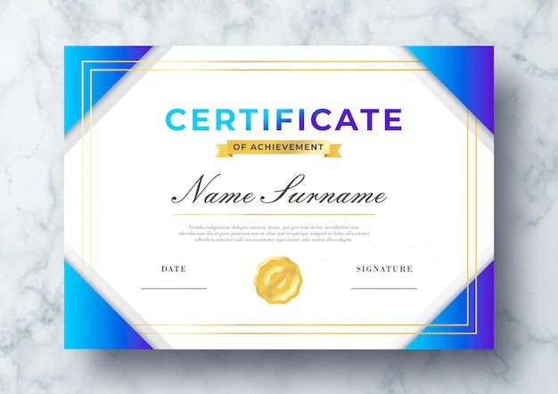 Beautiful certificate of achievement psd template