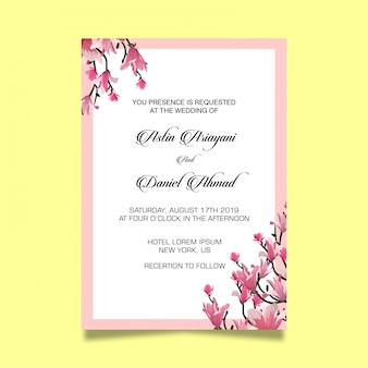 Beautiful cherry blossom wedding invitation card template