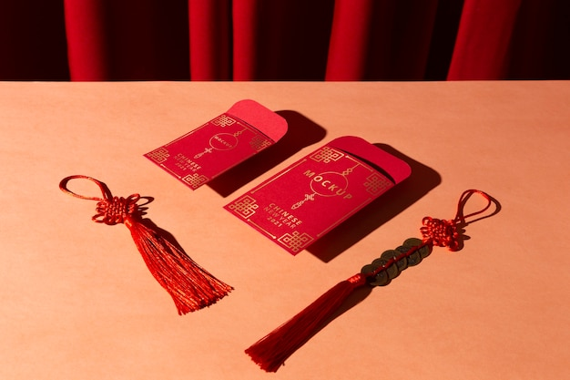 Красивый китайский новый год концепт-макет