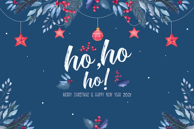 Красивый новогодний фон с синими и красными украшениями