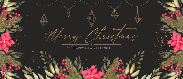 Beautiful christmas banner with nature and golden ornaments