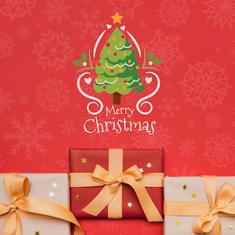 Beautiful christmas gift concept mock-up