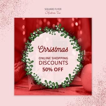 아름 다운 크리스마스 광장 전단지 판매 개념