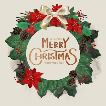 Beautiful christmas wreath template