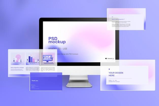 프레젠테이션 슬라이드가있는 아름다운 컴퓨터 화면 모형 광고